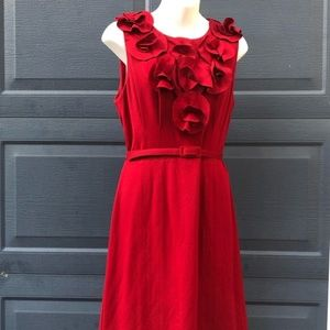 Badgley Mischka | Red Ruffle Cocktail Dress